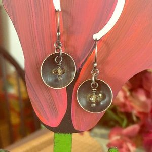 Jewelry - Petite and Unique Silver and Yellow Bead Earrings